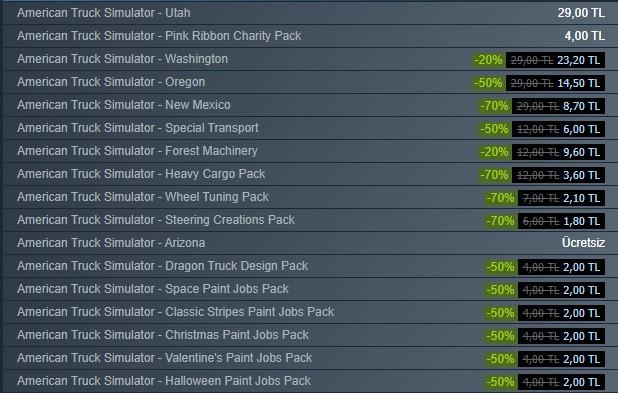 American Truck Simulator İndirimli DLC Paketleri