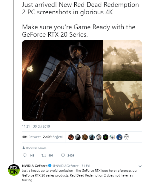 nvdia ray tracing özelliği hangi oyunlarda olacak - Red Dead Redemption 2 PC Bekleyenlere Kötü Haber